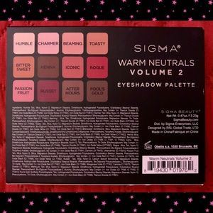 SOLD! SIGMA WARM NEUTRALS VOL2 EYESHADOW PALETTE